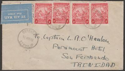 Barbados 1942 KGVI 1d x4 Used on Arimail Cover St Philip to Trinidad
