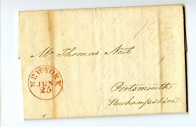 USA Stampless Cover 1816 New York>Portsmouth Market prices Cotton;Purchace ship