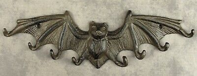 GOTHIC WINGED BAT Cast Iron 8 HOOK WALL SCULPTURE  Hang Keys, Leashes and More!