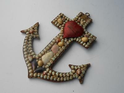 Lovely Antique Sailors Shell Valentine Anchor Pin Cushion Bless