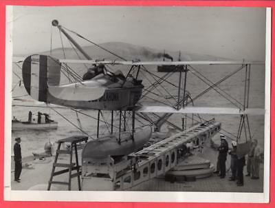 1929 Readying Seaplane for Launch Battleship BB-37 USS Oklahoma News Photo