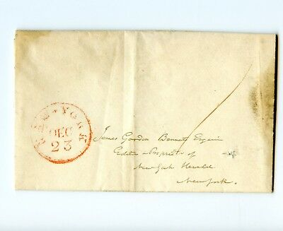 USA Stampless Cover 1830? Letter to James Gordon Bennett New York Herald on Poor