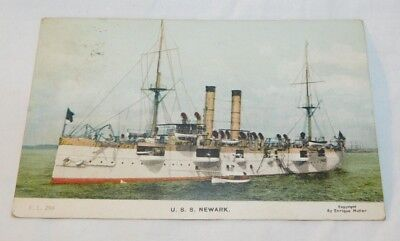 RARE 1910 USS Newark Battleship Military Ship RPPC Postcard