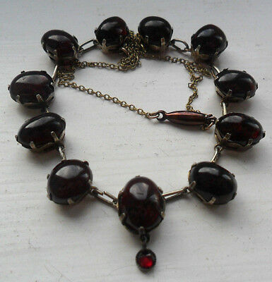 Vintage antique jewellery edwardian garnet cabachon silver gilt necklace