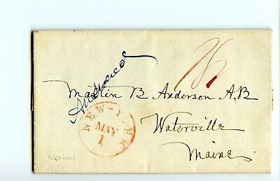 USA Stampless Cover 1842 NY>Watterville ME Aboard USS Independence PastorLetter