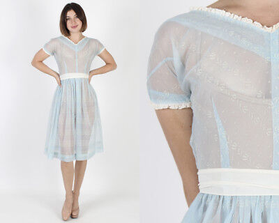 Vintage 50s Blue Wedding Sheer Floral Lace Bridal Cocktail Party Mini Dress S