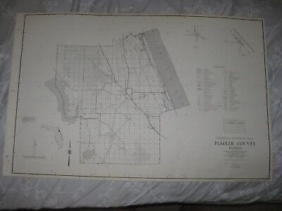 Huge Rare Antique 1956 Flagler County Florida Dated Map Bunnell Detailed Fine Nr