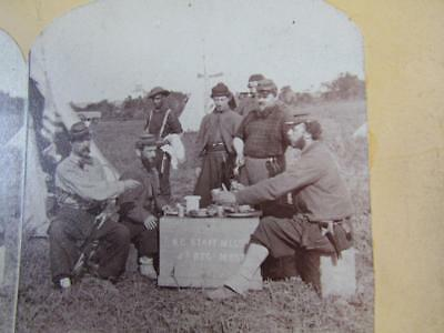Antique Civil War Stereoview Card Photo, Ny 5Th Regiment, Negro Soldier