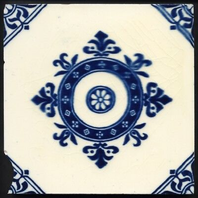 TH3421 Surprisingly Rare Mintons Gothic Influenced Blue & White Tile Rd.1885