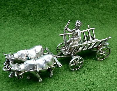 MINIATURE SILVER OX CART & DRIVER - LONDON IMPORT 1902 BY ELLY ISAAC MILLER 2oz