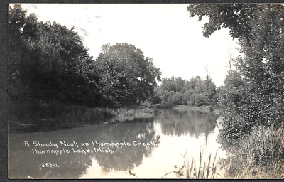 Thornapple Lake Michigan, Shady Nook Thornapple Creek, 1916 CHILDS RPPC Postcard
