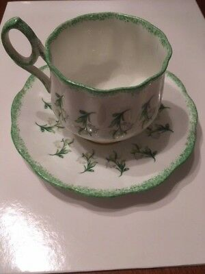 Rosina Speckled Light Green Lily of the Valley Tea Cup and Saucer
