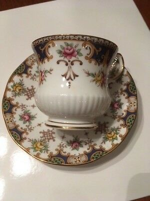 Queen's Kenilworth Rosina China Teacup Saucer Blue Panels Floral