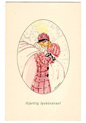 Postcard Swedish Girl In Pink Happy Wishes Artist-Signed Aina Stenberg