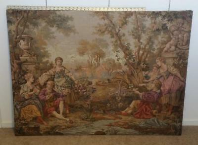HUGE Vintage 55 x 40 Francois Boucher Tapestry Belgium Wall Hanging Gallantries