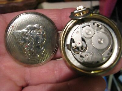 Remington -Quartzarama -Pocket-Watch With Train On Dial And Case Back,