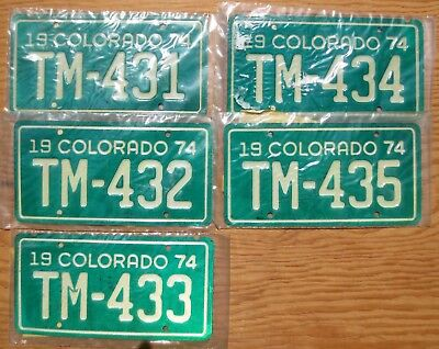Five 1974 Colorado Motorcycle License Plates Number Tag Plate Lot