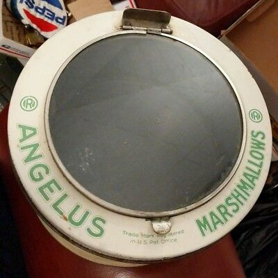 """Antique/Vintage Angelus Marshmallows 5 LB Tin with GLASS Lid 10""""X 6"""" display"""