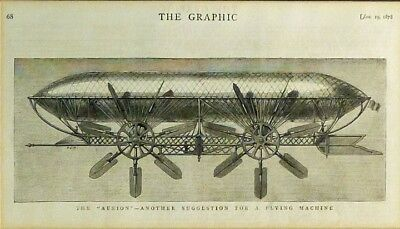 1878 The Graphic Illustrated - Aerion Flying Airship Engraving/Double Matted