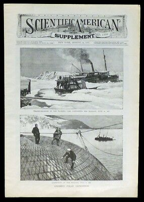 1897 SCIENTIFIC AMERICAN Andree's Polar Gas Balloon Airship Expedition