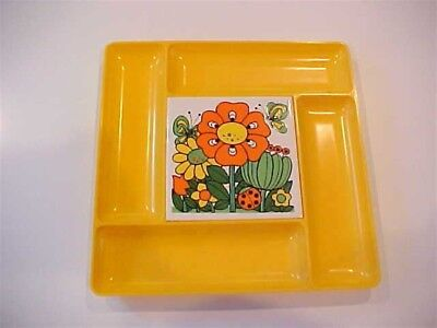 Chinese Yellow Mod Vintage Mid Century Cheese & Cracker Tray w Hippy Style Tile