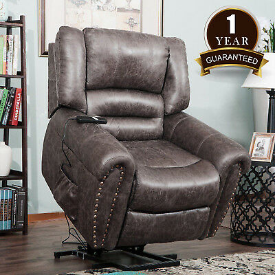 Electric Power Lift Recliner Chair Elderly  Armchair Leather w/Remote Brown