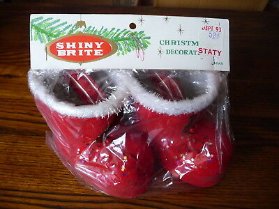 VINTAGE SHINY BRITE CHRISTMAS TREE DECORATION SANTA CLAUSE BOOTS orig package