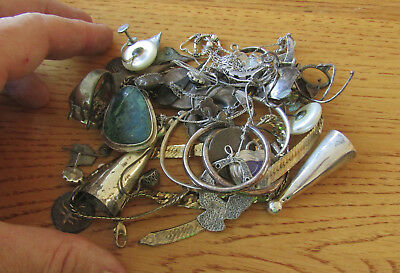 78 grams mixed lot sterling silver, coin silver, intact & broken jewelry, tested