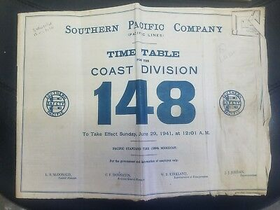 1941 Southern Pacific Company #148 Employee Railroad Timetable government