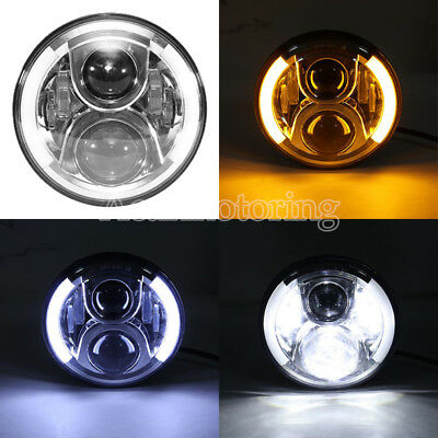 "7"" Round H4 LED Headlight Lamp Fit Harley-Davidson Lectra Glide FLHT Motorcycle"