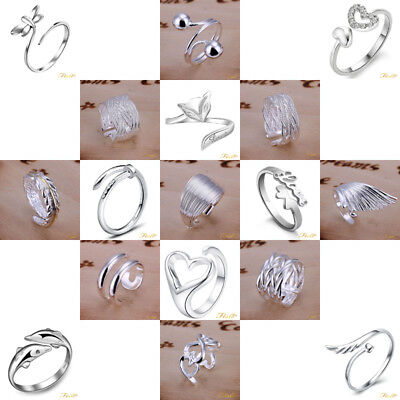 *Au* 925 Silver Plt Adjustable Open Band Thumb Rings Ladies Statement Gift Wrap
