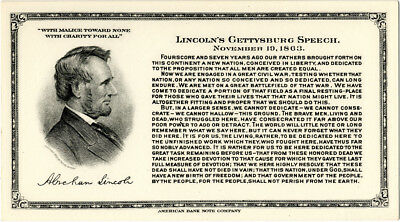 American Bank Note Co. Advertising Card w/ Abraham Lincoln Gettysburg Address