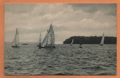 NY New York LI Long Island Huntington Northport Bay Sail Suffolk County Postcard