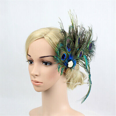 Bridal Wedding Headpiece Hair Clip Peacock Feather Pearl Party Flapper Headband