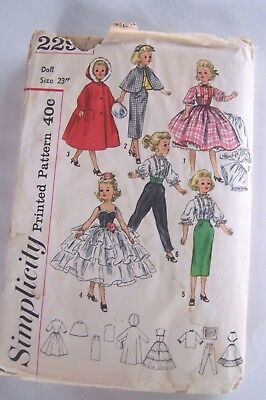 1950s Original Doll Clothing Sewing Pattern 23in Doll Cissy Revlon Cindy Used