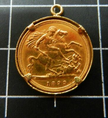 Half Sovereign  1899M  key date. In gold mount..