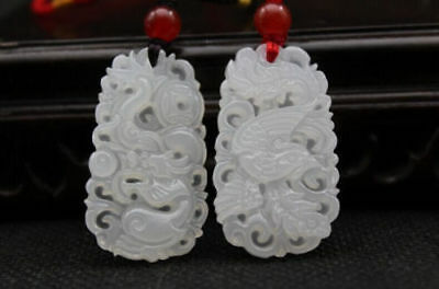 Hot Chinese natural hand-carved white jade dragon Phoenix lucky pendant necklace