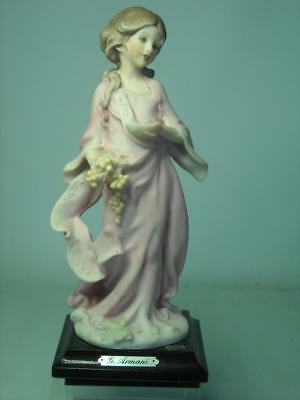 Florence Guiseppe Armani GIRL IN PINK WITH GRAPES Figurine Holding a Bowl