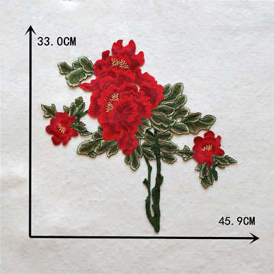 fine Peony embroidery Clothes Sewing Wedding Bridal Applique DIY YL928