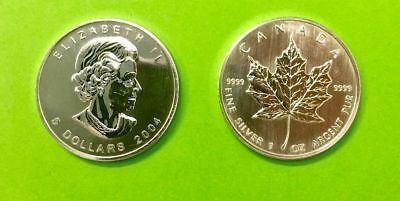 5 can-$  Maple Leaf 2004  Silber 1 Unze
