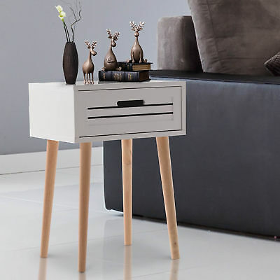 White Painted End Side Table Night Stand Desk with a Drawer Oak Legs Home Office