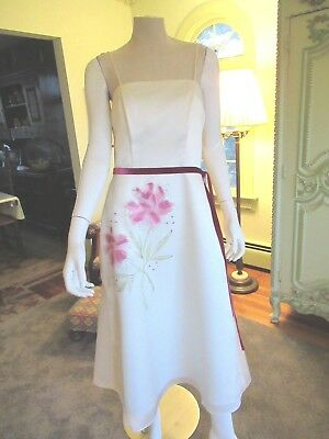 Watters & Watters Formal Dress, 8 ,ivory, Silk Organza, Lining Polyester,floral