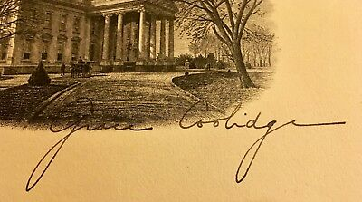 GRACE COOLIDGE Hand Signed White House Card VG