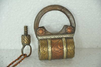 Old Iron Handcrafted Unique Shape Solid Screw System Padlock , Rich Patina