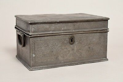 Excellent Large Antique Chinese Pewter Box, Signed