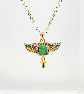 Egyptian Scarab Opened Wings Ankh Cross Ancient Egypt Golden Pendant Jewelry.New