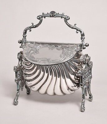 Really Attractive Antique Ornate Victorian Silver Plate Biscuiteer Biscuit Box