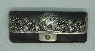 Sterling Silver & Leather Purse HM 1901 Beautiful Silver work leather damaged
