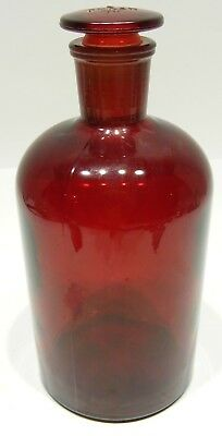 VINTAGE PYREX 1000ml RED BOTTLE APOTHECARY LABORATORY #29 W/STOPPER MADE IN USA