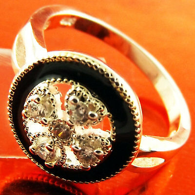 Ring Real 925 Sterling Silver S/f Onyx Diamond Simulated Design Us 7 Fs3B026